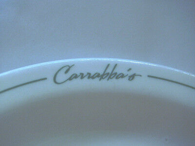 Carrabbas Restaurant Desert Plate Niagara 5 50  White Porcelain W Green Stripe