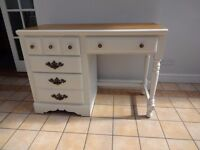 Stunning hand painted dressing table / desk finished in a clotted cream matt with satin oak top