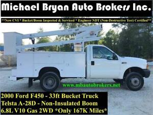 2000 FORD F450 33FT BUCKET TRUCK *TELSTA A-28D BOOM* GREAT PRICE