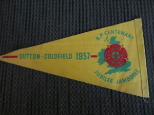 4-Antique Boy Scout Pennants -Jubilee Jamboree 1957