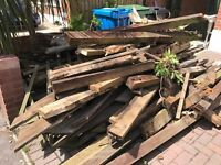 Old decking and timber for firewood. Untreated so fine for wood burners