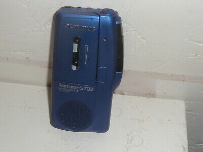 Olympus Pearlcorder S702 Hand Held Microcassette Voice Recorder Player Blue