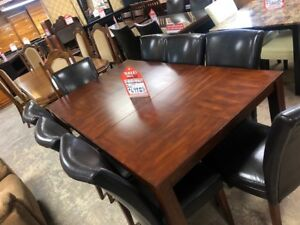 SOLID MAHOGANY TABLE WITH 8 LEATHER HIGH BACK CHAIRS