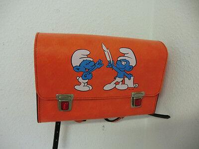 Knalliger 70er Jahre  Orangener Schulranzen  Schultasche mit Schlümpfe Vintage