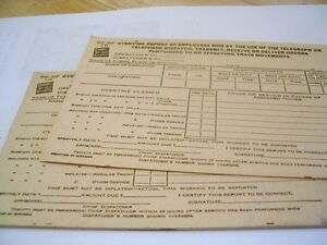 CNR Canadian National Railway train TIME SHEETS ca 1950's
