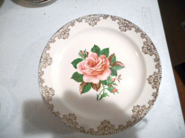 Vintage Paden City Pottery American Rose Warranted 22K Dinner Plate 9 1/4""
