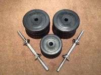Phsyionics Barbell Set - 8 X 2.5 Kg and 4 X 1.25Kg plastic covered weights to avoid floor damage