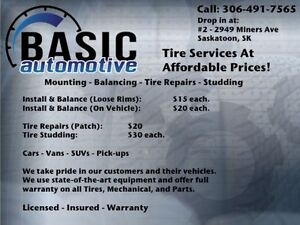 TIRE INSTALL AND BALANCE - Starting $15.00 ea