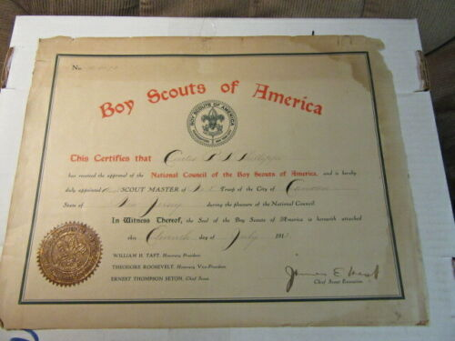 1913 Assistant Scoutmaster Wall Certificate, Camden, NJ  npc1