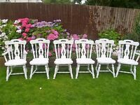 6 x Shabby Chic Solid Vintage Dining Chairs up-cycled in White chalk paint (inc 2 carvers)
