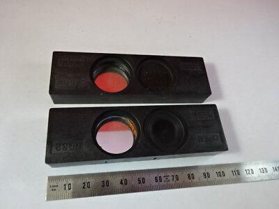 Lot 2 Ea Green Filter Slides Nikon Japan Microscope Part Optics As Is 95-28