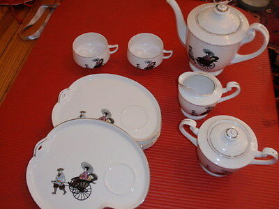 VINTAGE PORCELAIN JAPANESE TABLE WARE KITCHEN SET ARITA RICKSHAW
