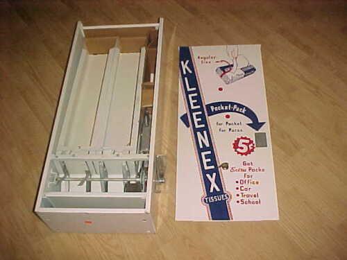 1950-60  GEM New Old Stock   -  Retro KLEENEX 5 CENT VENDING MACHINE - ENAMEL !!