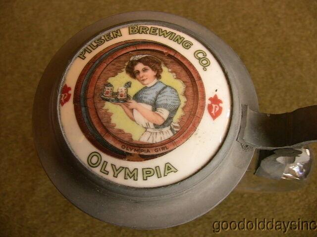 Old Olympia Beer Stein w/ Porcelain Lid Pilsen Brewing Co. Albert Pick