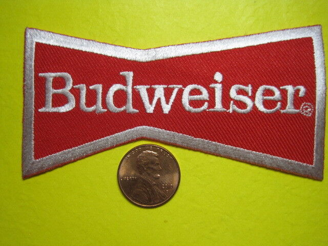 BEER PATCH BUDWEISER SMALL BOWTIE PATCH LOOK AND BUY NOW! GREAT FOR CAP OR COAT*
