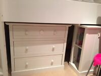 NEXT Herts and stars Cabin bed with wardrobe, chest of drawers, desk, stool and mattress