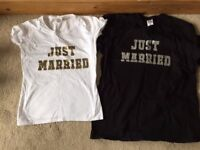 His and Hers 'Just married' t-shirts