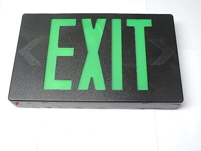 - LED Plastic Exit Sign 120V/277V Black Green Letters, 1 or 2 Sided Dual Circuit