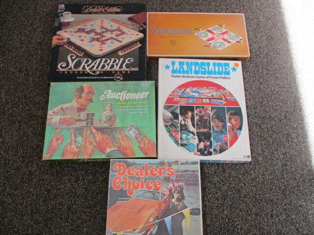 Lot of 5 Vintage Board Games - Scrabble, Parcheesi, Auctioneer, Landslide  ++