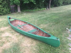 2 vintage 16' cedar and canvas canoes for sale