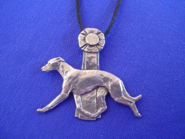 GREYHOUND whippet rosette necklace #11M Pewter dog Jewelry by Cindy A. Conter