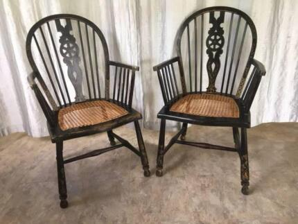 Antique pair of Windsor chairs