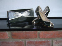 Ladies size 5 court shoes with matching clutch bag, never worn