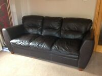 3 seater sofa + 2 seater brown leather sofa in excellent condition