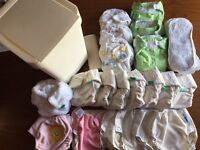 Great bundle of reusable nappies (14 nappies and inserts, 6 wraps - Totsbots, Bumgenius, Motherease)