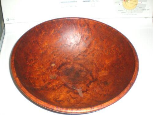 Old Vintage 15x14x5 Munising 2nd Birdseye Maple Wood Dough Bowl Primitive Rustic