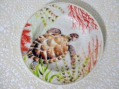 Sea Turtle Salad Plate 8.5 Inch Melamine Dinnerware Nautical Ocean Coral