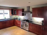 Used fitted cherry wood kitchen for sale including sink and granite worktops