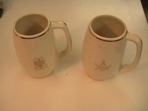 "Masonic Temple Mugs Compass 32 Degree Mason Lot of 2 Vintage 5.5"" tall"