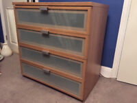 Ikea glass fronted 4 drawer chest of drawers