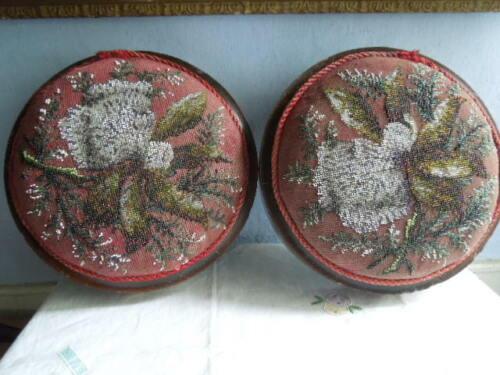 Pair of Victorian Beadwork and Needlework Footstools in Walnut Frames