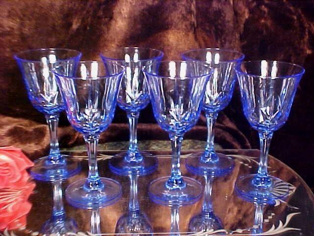 6 GORGEOUS ELECTRIC BLUE Wine Goblets Glasses CUT BULLS EYES & FANS!
