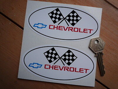 CHEVROLET Oval Car STICKERS 120mm Pair USA HOT ROD CUSTOM Dragster Corvette Race