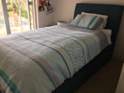 Lovely king single upholstered trundle bed frame & 2 mattresses