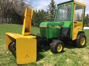 "John Deere 420 tractor with cab, snow blower, and 60"" mower"