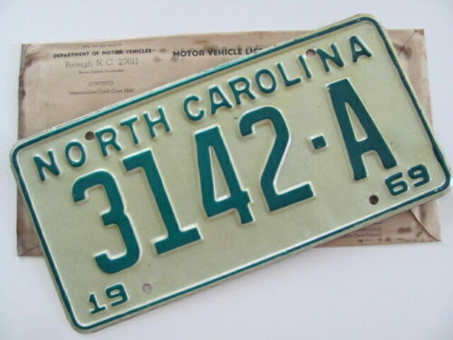 1969 NORTH CAROLINA NC LICENSE PLATE TAG, 3142-A, NEW, UN-ISSUED,ORIGINAL, NICE