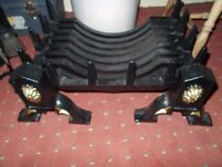 Log coal fire grate burner basket & 2 fire dogs, New & unused, top quality cost £280