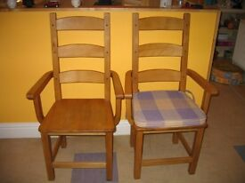 4x Solid Oak Carver Chairs with made to measure cushions