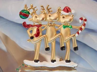Holiday Cheer Vintage 1980's Darcys Signed Dancing Raindeer Brooch 128D8 - Raindeer Costumes