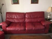 Red leather 3 seat sofa and two chairs - very comfortable