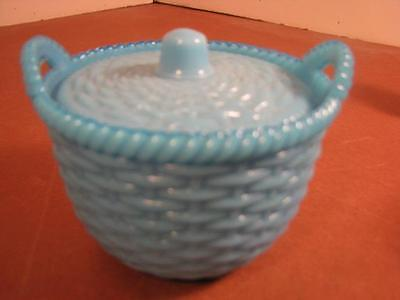 Vintage Blue Milk Glass Small Covered Basket