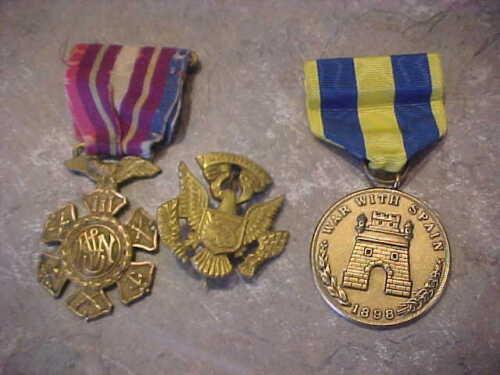 SPANISH AMERICAN WAR MEDAL 1898 SERVICE VETERAN GOLD EAGLE FILII MARINE UNKNOWN