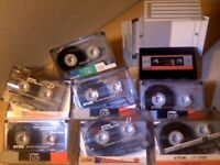 CHEAP TDK D C120 & MAXELL UR C120 CASSETTE TAPES x8 JOB LOT W/ CASES/CARDS & LABELS, USED ONCE ONLY.