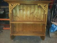 SOLID PINE WALL SHELF UNIT WITH FRET WORK