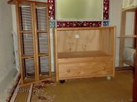 SOLID PINE TV/STEREO UNIT AND CD/DVD RACK.
