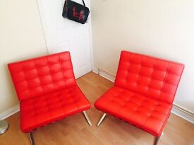 Two lounge chair/ armchair real leather, red 150